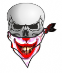 GOTHIC BIKER Pirate SKULL With Face Bandana & Creepy Smiler Horror Clown Motif External Vinyl Car Sticker 110x75mm